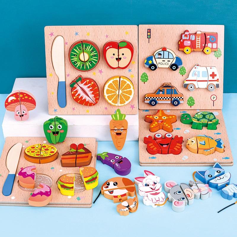 Детские игрушки деревянные фрукты овощи десерт пазл кухня игрушки Дети ролевые игры приготовление пищи обучающая игрушка подарок для дево...