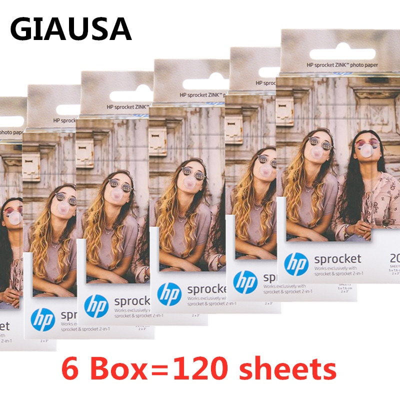 GIAUSA 6 Box (60 Sheets) for HP Sprocket Photo Paper 2x3 Mini Photographic Paper Pocket Photo Printer HP Zink Paste Photo Paper