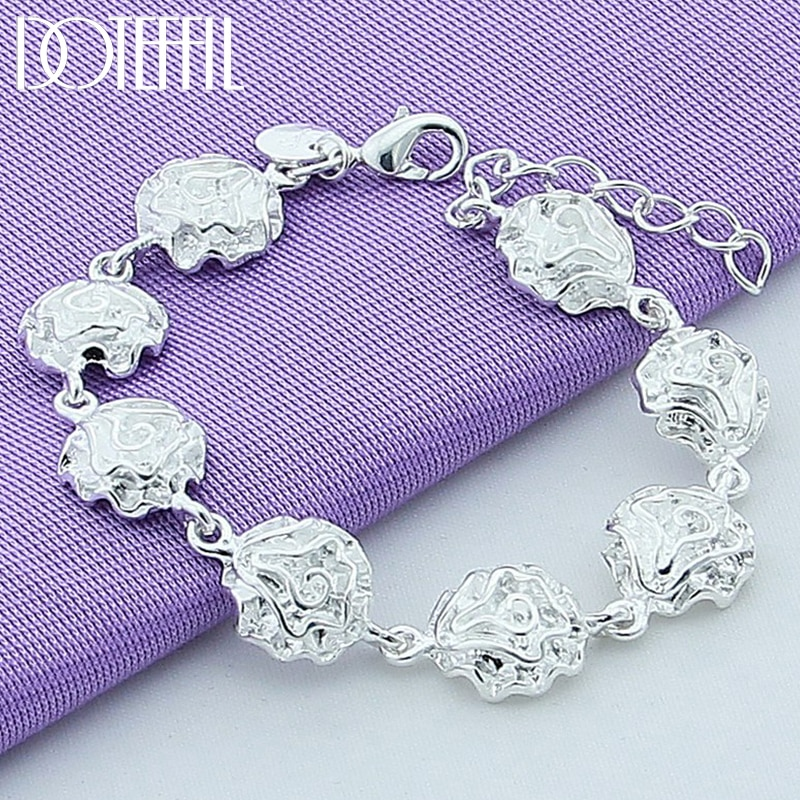 DOTEFFIL 925 Sterling Silver Rose Flower Bracelet For Women Fashion Charm Wedding Engagement Party Jewelry doteffil 925 sterling silver butterfly aaa zircon bracelet for women fashion wedding engagement party charm jewelry