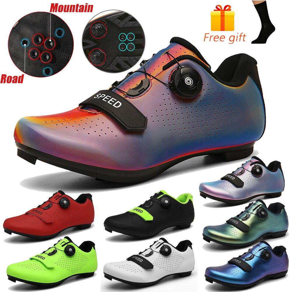 Zapatillas de ciclismo profesional SPD, zapatillas MTB para hombre, zapatos de bicicleta de montaña con bloqueo automático, zapatos de bicicleta de carretera para mujer, zapatos atléticos al aire libre