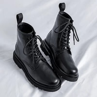 2021 autumn leather casual sneakers for men fashion martin boot mens rubber man outdoor boots comfortable army military boots