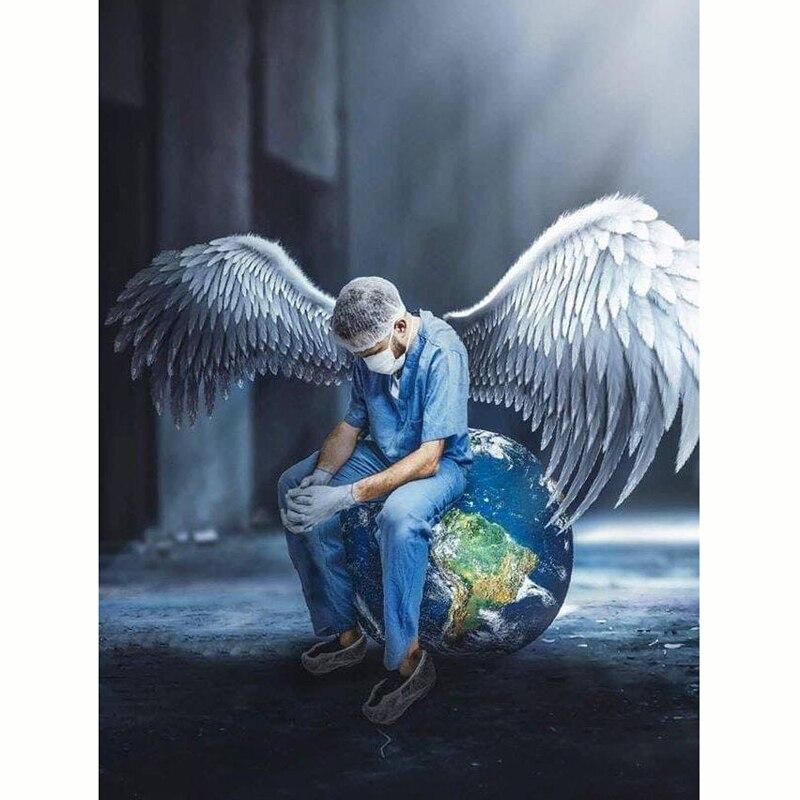Pintura de diamante 5d ejercicio completo redondo Doctor Angel salva vida diamante arte mosaico bordado de diamantes imagen para decoración de pared