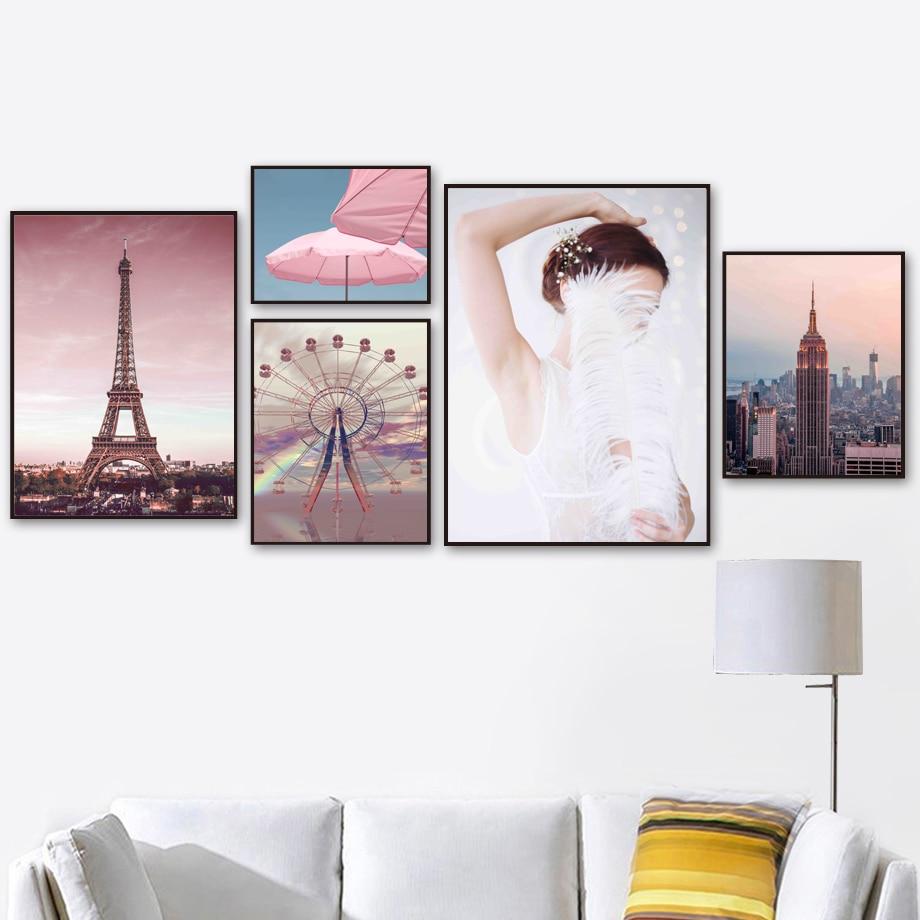 Pink Empire State Building Paris Tower cuadro sobre lienzo para pared carteles nórdicos e impresiones cuadros de pared para decoración para sala de estar