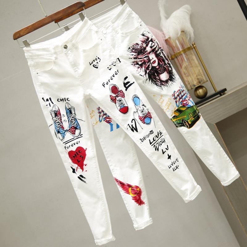 plus Size Women White Denim Jeans Cartoon Graffiti Flowers Print Stretched Hallen Jeans Pencil Pants Autumn Skinny Jeans LU1271
