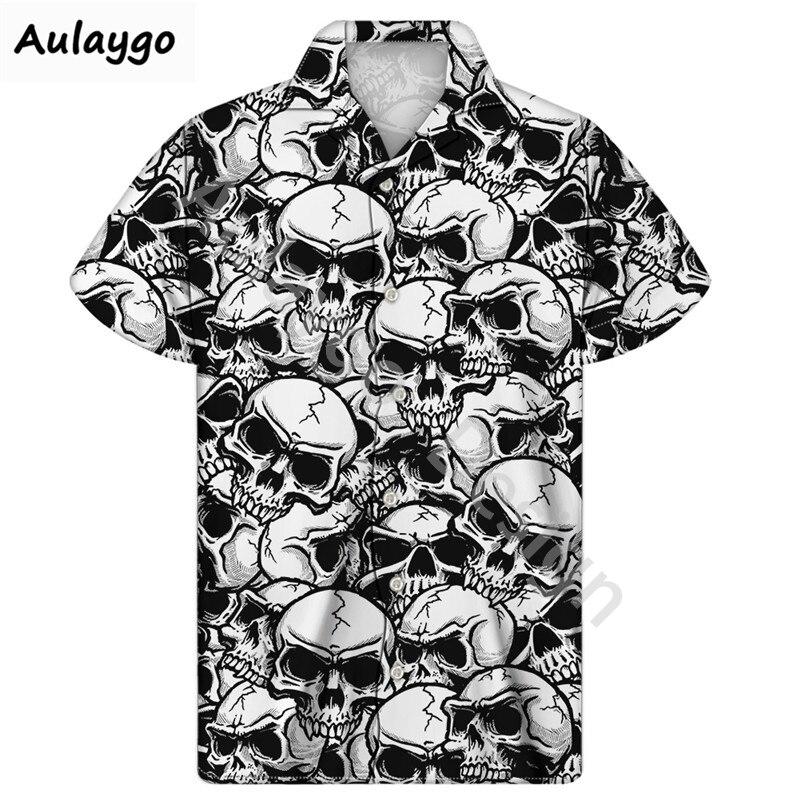 Camisa de Guayabera cubana, camisas de playa con estampado de Calavera, moda de verano 2020, pantalón corto Casual con manga abotonada, camisa hawaiana hombre