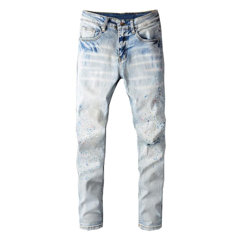 Модные мужские джинсы в уличном стиле ретро светло-голубые эластичные облегающие рваные джинсы мужские раскрашенные дизайнерские брюки в ...