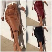 women pu midi skirt autumn commute splicing zipper pure rump casual skirt office female fashion