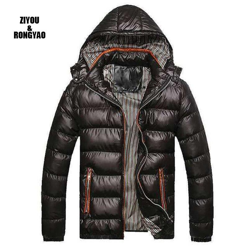 Мужские зимние куртки с капюшоном, парки, мужские пальто, толстые термо блестящие теплые пальто, приталенные мужские пальто, повседневная о...