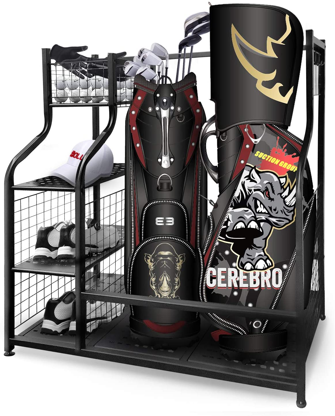 Golf Storage Garage Organizer,Golf Bag Storage Stand and Other Golfing Equipment Rack,Extra Large Design for Golf Clubs Accesso