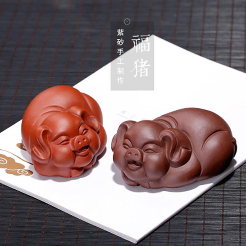 Yixing-صينية شاي صينية للحيوانات الأليفة ، تميمة من الطين ، خنزير ، صناعة يدوية ، تماثيل حيوانات ، إكسسوارات شاي ، ديكور منزلي