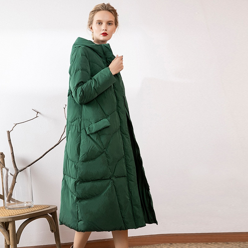 Women's 2019 new down jacket women's middle and long style 90 white duck down thickened hooded down jacket