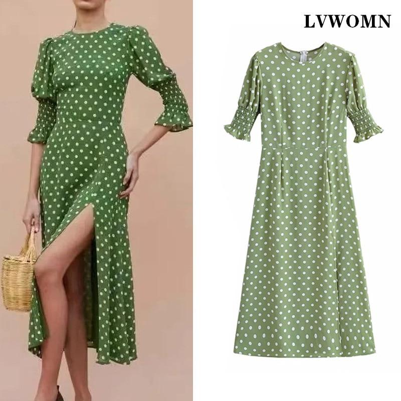 LVWOMN Za abito a pois da donna 2021 estate O collo manica corta abiti lunghi donna Boho Side Split Casual elegante abito verde