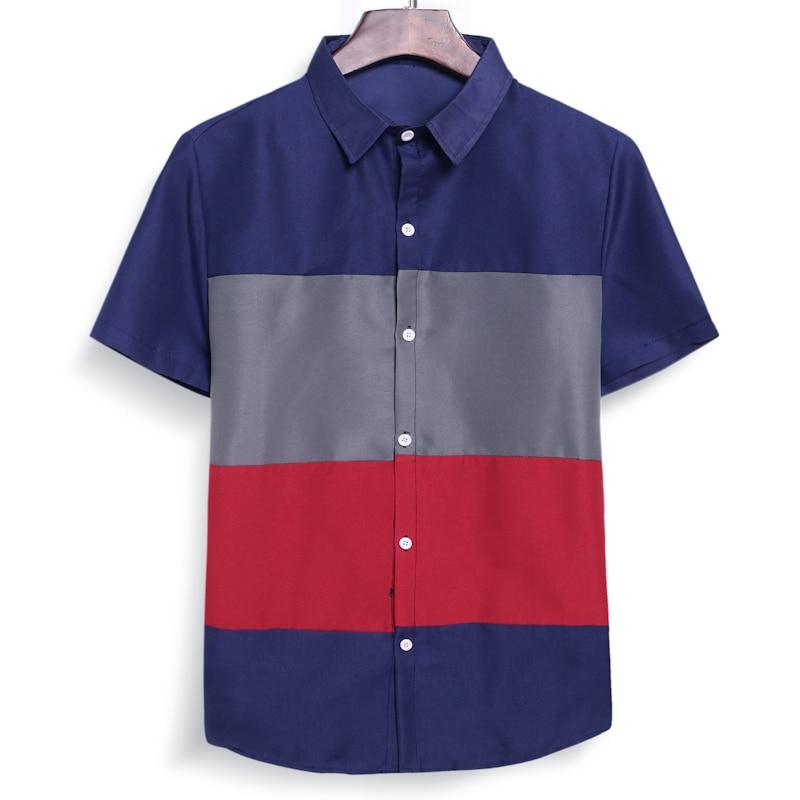2021New lightweight men's short-sleeved stitching shirt four-color lapel shirt