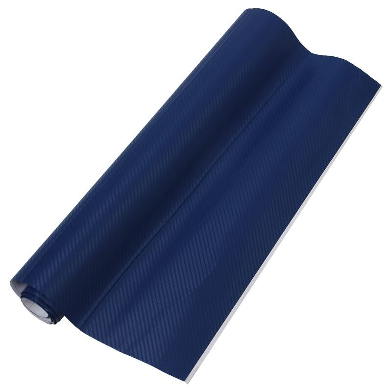 50x127cm, vinilo 3D de fibra de carbono, revestimiento para coche, rollo de lámina, pegatina de película, azul