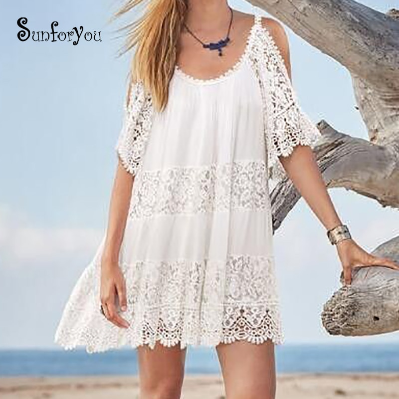 White Beach Style Mini Dress Lace Cotton Patchwork Off Shoulder Women Summer Dress Kimono Beach 2020 Sraong Vestido Casual Dress
