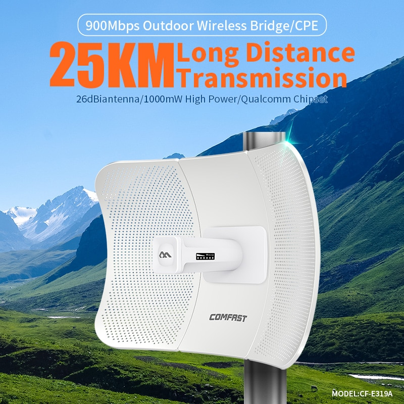 COMFAST 25 كجم 900Mbps 5.8G في الهواء الطلق طويلة المدى نقطة وصول لاسلكية جسر واي فاي CPE نقطة وصول 26dBi هوائي واي فاي CF-E319A النانو