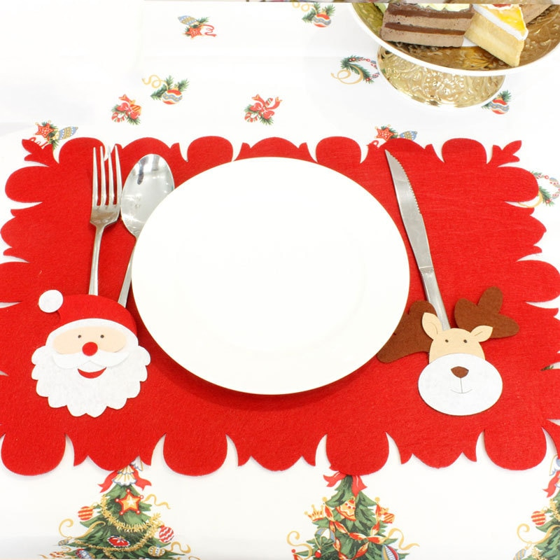Rojo Mantel Individual navideño Santa Claus de la tela no tejida de mesa de comedor de juegos de tenedores árbol de Navidad patrón vajilla de alfombras de casa
