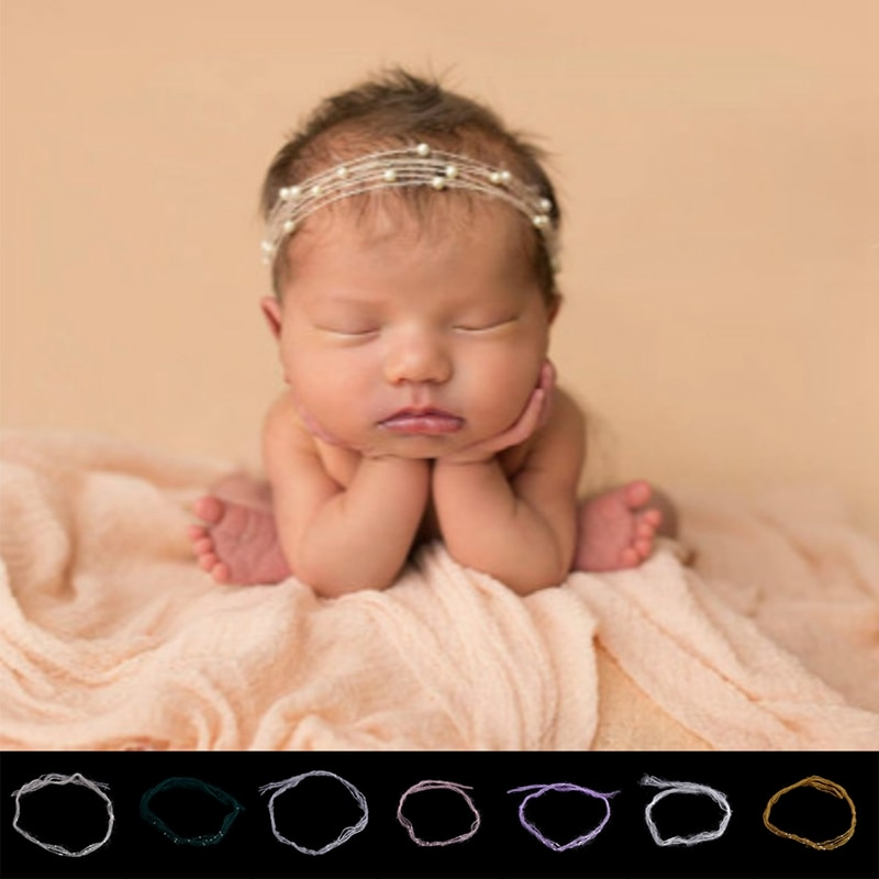 Neue Neugeborenen Baby Mohair Perle Stirnband Headwear Haar Zubehör Fotografie Requisiten Geschenk
