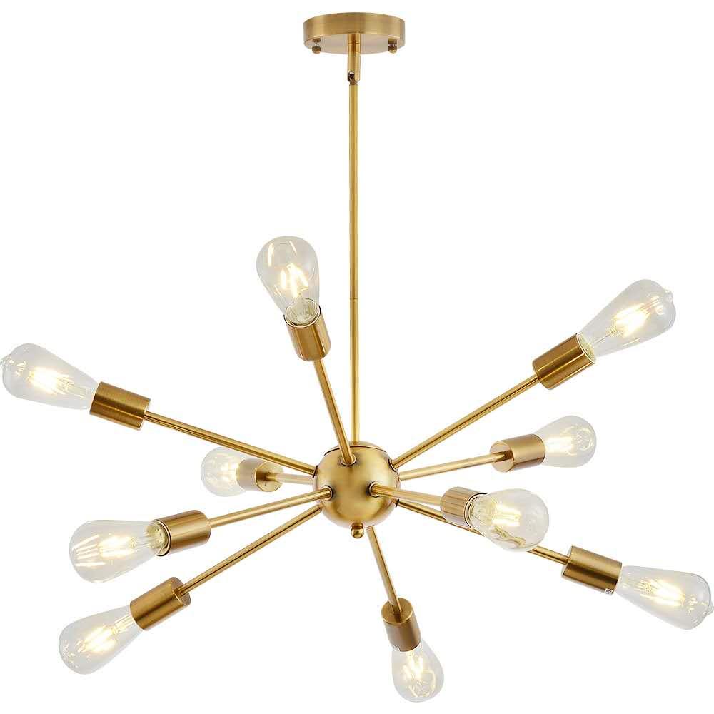 Sputnik Chandeliers Brass Modern Pendant Lamps Antique Gold Lndustrial Stair Lighting Fixtures 10 Arms Brushed Nickel Black Tube