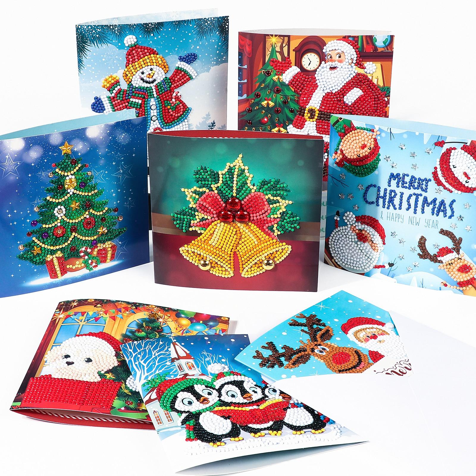8 шт., алмазная картина, поздравительные открытки, мультфильм, Рождество, день рождения, поделки 5D, детский праздник, вышивка, подарок