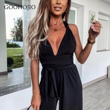 GOOHOJIO 2021 New Spring and Autumn Sleeveless Jumpsuits Women Wide Leg Pants Women Jumpsuits Sexy S