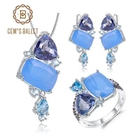gems ballet natural aqua blue calcedony candy irregular jewelry 925 sterling silver ring earrings pendant jewelry set for women