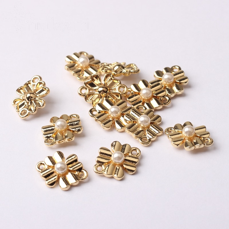 Zinc Alloy Golden Cute Flowers Charms Connectors 6pcs/lot For DIY Fashion Drop Earrings Jewelry Making Finding Accessories