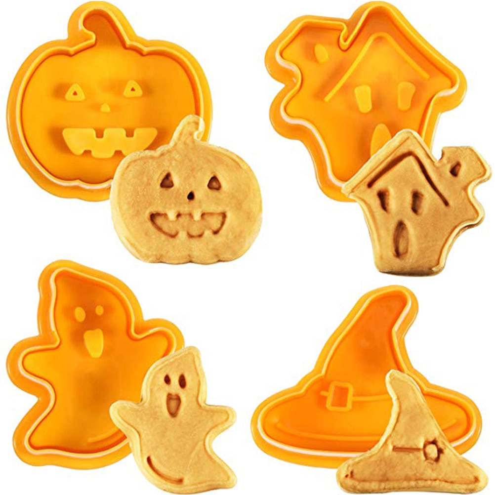 4 шт./компл. Хэллоуин форма для печенья печать для печенья 3D резак для печенья Форма для выпечки «сделай сам» формочки для печенья кухонные и...