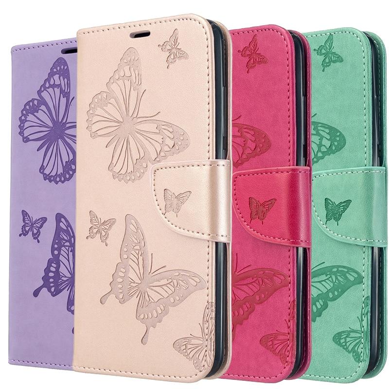 Модный кожаный чехол-бумажник с бабочкой для iPhone 11 Pro Max Xr X Xs Max 6 6S 7 8 Plus, откидная крышка, держатель для карт, ремешок на руку