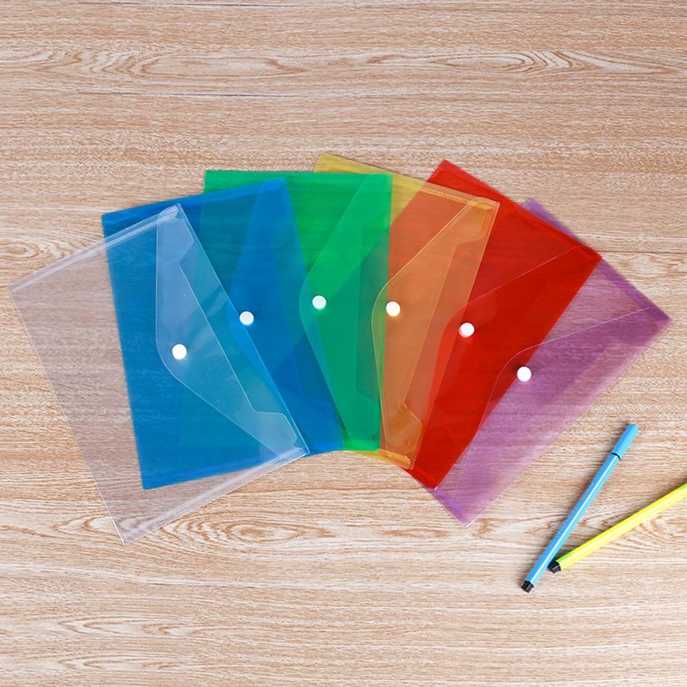 20PCS Plastic Snap A5 File Bag Holder Transparent Custom Advertising PP Ticket Invoice Folder Office Supplies