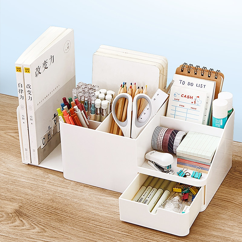2in1 pen holder Desk organizer stationery Desk pencil holder book Stand for pen Organizers Bookend school pencil case for office no face man pen holder cartoon faceless pencil holder as desk organizer