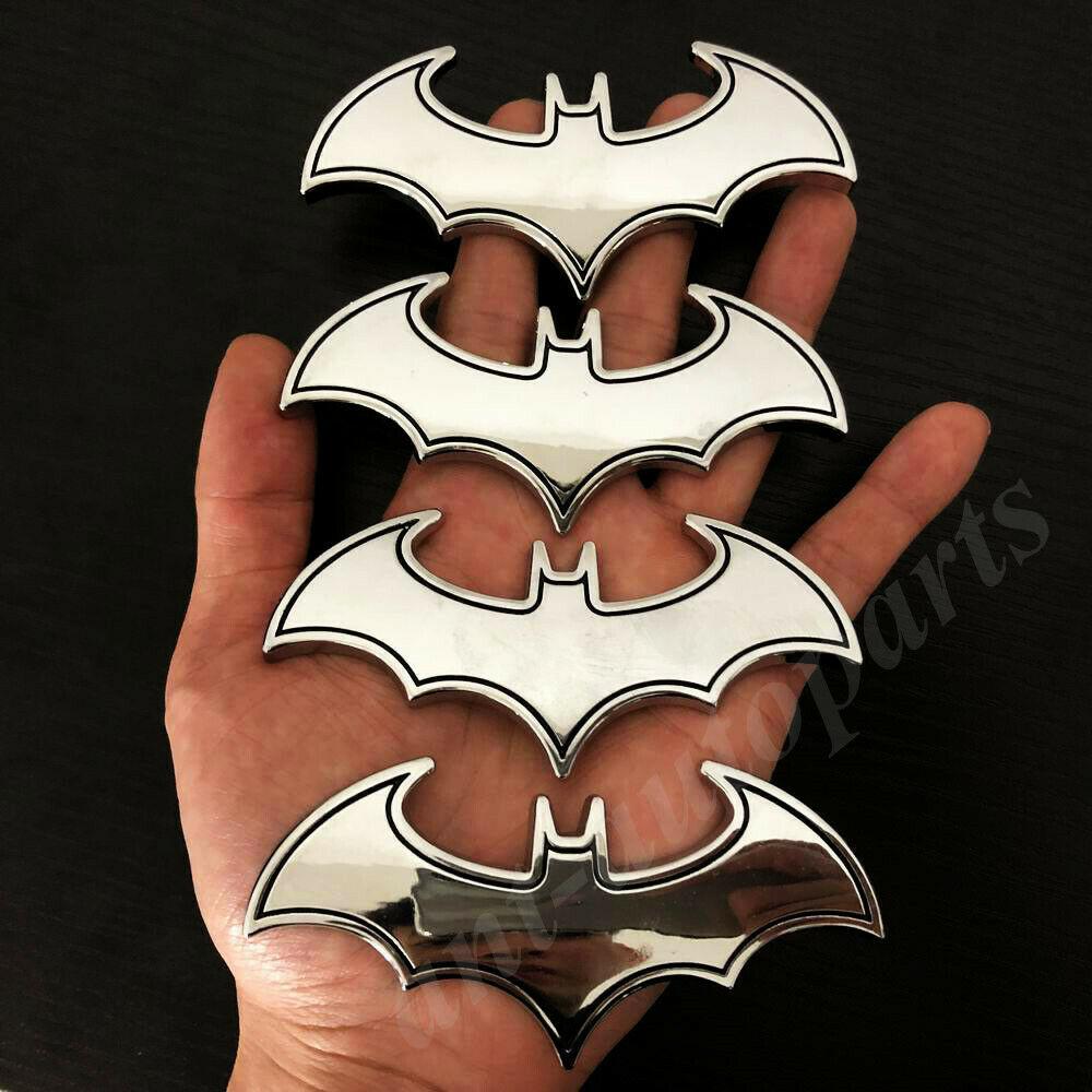 4 stücke Große 3D Metall Chrome Batman Dark Knight Maske Auto Emblem Abzeichen Aufkleber Aufkleber