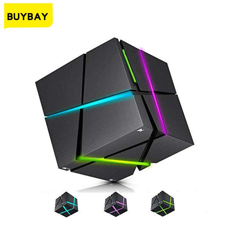 [해외] 휴대용 RGB LED 야간 조명 HIFI 블루투스 스피커 테이블 램프 루빅 큐브 미니 서브 우퍼 다기능 야간 램프 New
