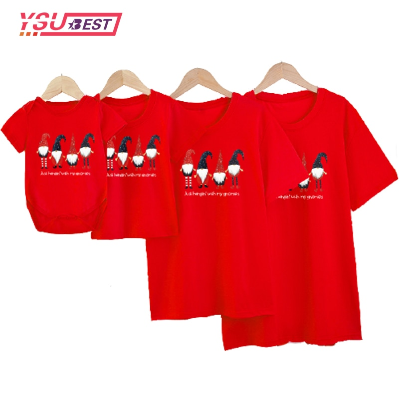 New Year Mother Kids Clothing Top Christmas Santa Claus Street Style Family Matching T-shirts Baby G
