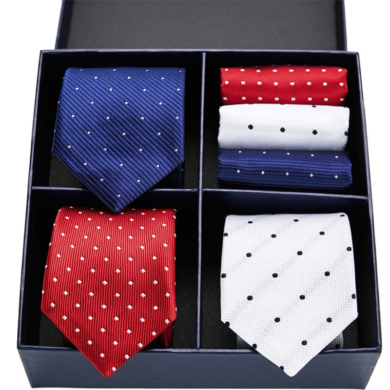 New Classic 7.5 cm 3pcs high-quality men's Red necktie handkerchief set ties for men lattice neckties gift box