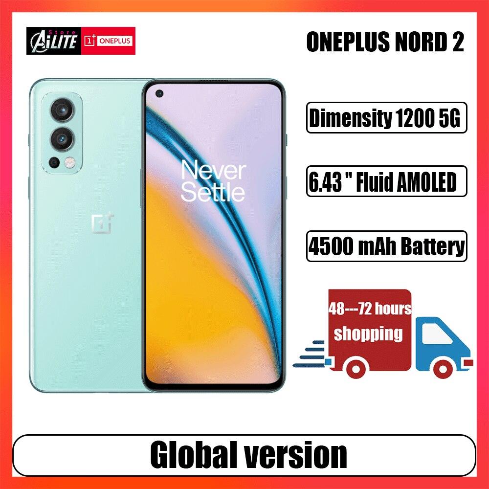 Глобальная версия OnePlus Nord 2 смартфон с яркостью 1200 дюйма, 50 МП, AI-камера с аккумулятором 65 Вт, 90 Гц, жидкий AMOLED-дисплей