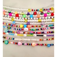handmade pearl beaded necklace smiley flower tai chi bead strand multicolor acrylic beads clavicle chain vacation jewelry gift