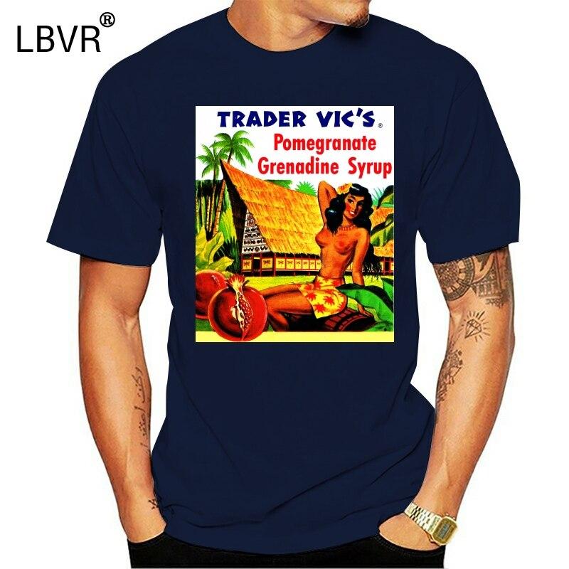 Mens Black Retro Vintage T-shirt Tee Trader Vics Hawaiian Hula Girl Hawaii Ad