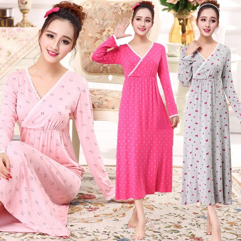 Camisón de algodón para mujer, para el pecho con almohadilla sexy ropa de dormir, vestido de noche agradable para la piel para dormir, primavera y otoño, XL