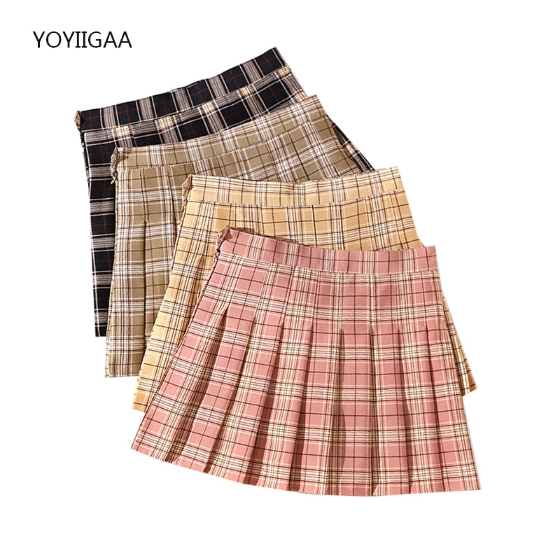 Harajuku Women Pleated Skirts High Waist Kawaii Women's Mini Skirt Fashion Summer Ladies Plaid Skirts Preppy Style Tennis Skirt