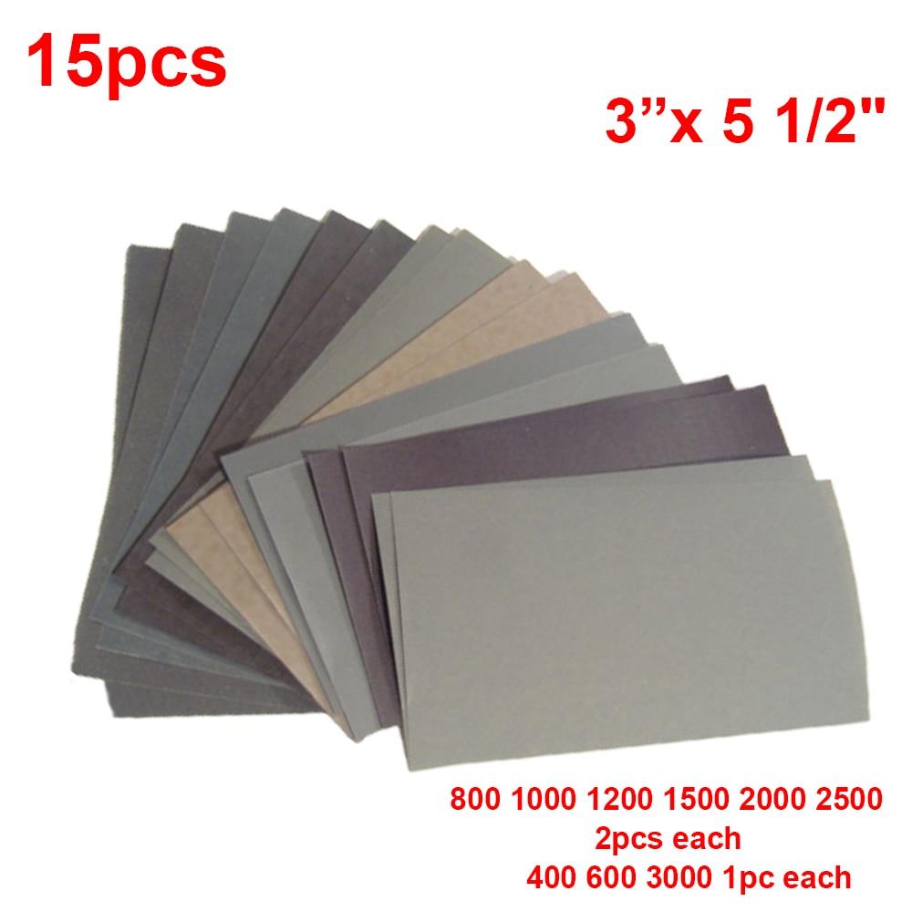 Juego de 15 piezas de papel de lija 400600 3000800 1000 1200 1500 2000 2500 papel de lija de grano agua / lijas abrasivas en seco