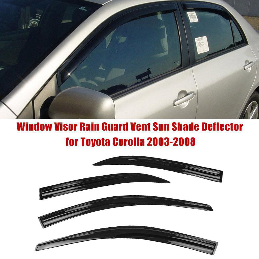 Guarda de sol da máscara da viseira do defletor da janela de 4 pces para a viseira automobible dos acessórios de toyota corolla 2003-2008