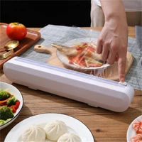 creative household suction cup type plastic wrap cutter adjustable storage sliding knife type cutting box kitchen tools supplies