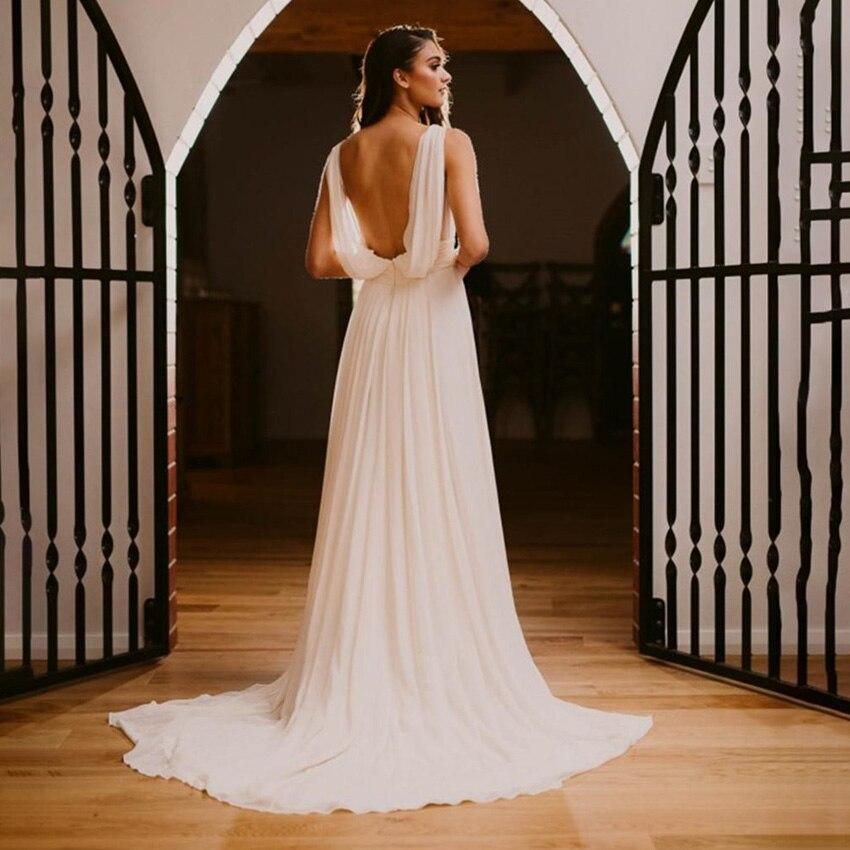 Get Vintage Simple Wedding Dresses Vintage Greek Chiffon  Backless V Neck  Sleeveless Ruched Robe De Mariee Custom Made Beach