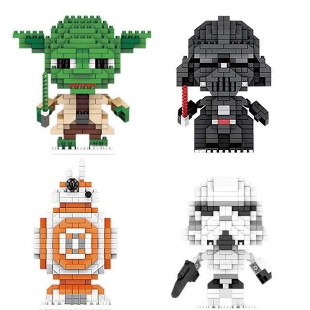 Estrela de batalha filme micro diamante bloco de construção mestre yoda darth BB-8 vader tempestade figuras trooper guerra espacial nanobricks brinquedos
