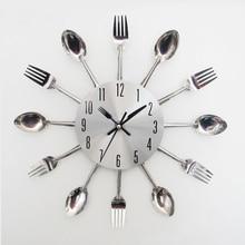 Splitter Besteck Küche Utensil Wanduhr Uhr Löffel Gabel Uhr Home Büro Kreative Dekoration Relogio De Parede