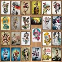 Tatouages Signes Detain En Metal Plaque Murale Bar Restaurant Maison Art Decor de Cinema Cuadros DU-7363B