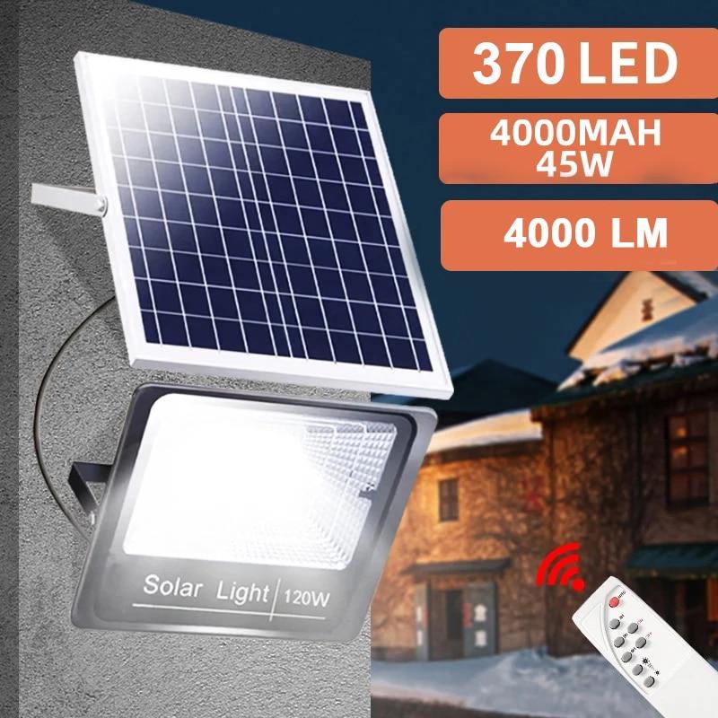 370/120/64LED Solar Light Outdoor Remote Control Waterproof For Garden Street Landscape Spotlight Wall Solar Powered Flood Lamp