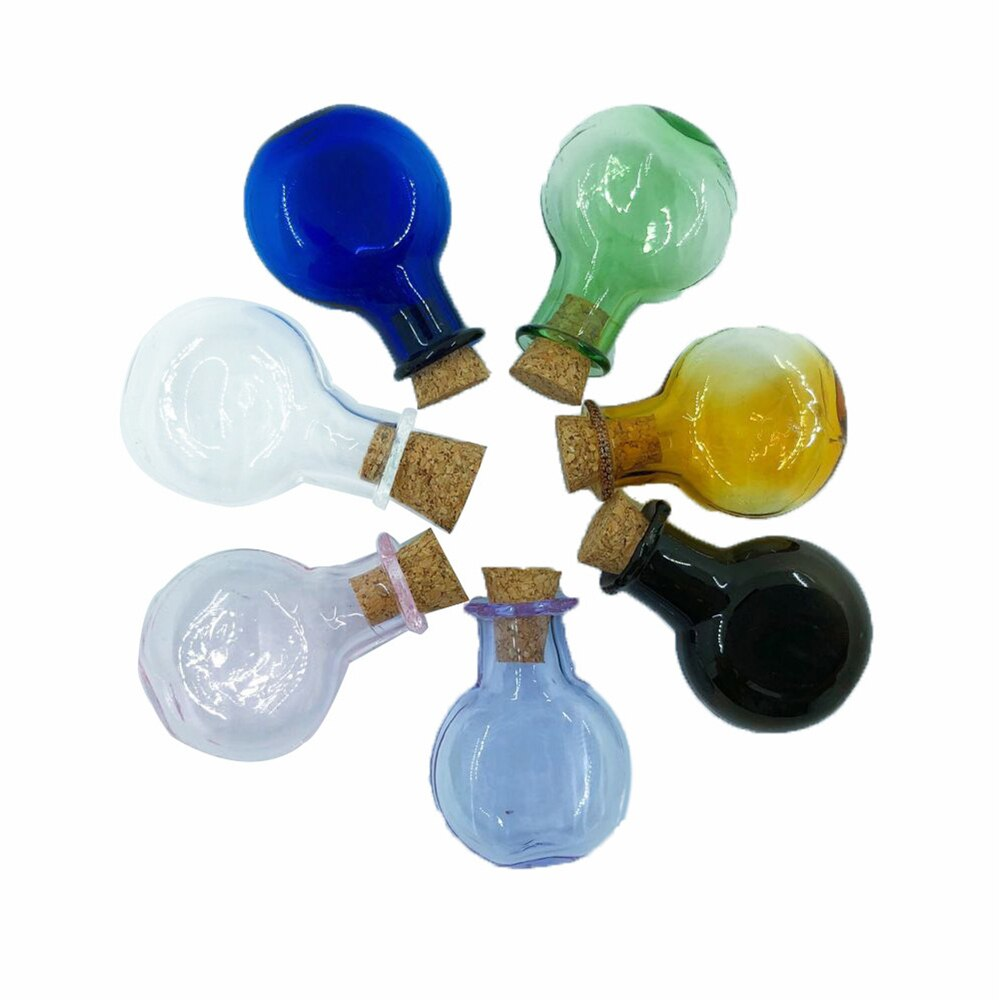 Mini Color de cristal colgantes para botellas redondas oblato con corcho botellas pequeñas regalo de boda frascos pequeños encantos mezcla 7 colores