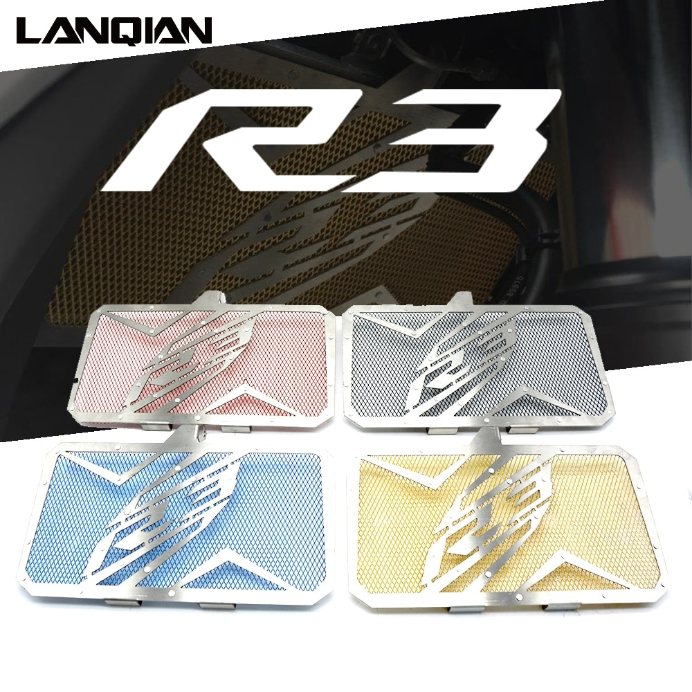 For Yamaha YZF R3 Motorcycle Accessories Aluminum Radiator Grille Protector Guard Cover YZFR3 YZF-R3 2015 2016 2017 2018 Parts